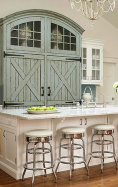 Fridge~ design your dream house, my dream home, beach kitchens, home kitchens Design Your Dream House, My Dream Home, Blue Kitchen Designs, Barn Style Doors, Barn Doors, Carriage Doors, Up House, The Ranch, Home Interior