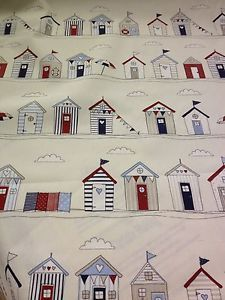 Fryetts Cream Cotton Curtain Fabric with Cute Blue & Red Beach Hut Design!
