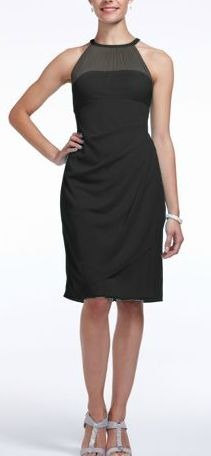 David's Bridal Sleeveless Short Mesh Bridesmaid Dress with Side Cascade. Style F15612 in Black.