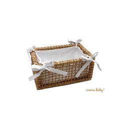 Cesta de palha forrada em piquet branco no tamanho P - Iroma Baby - 55E87