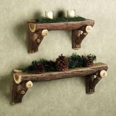 Check out the idea: #DIY #rustic wood log shelves!