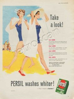 A bright and colourful early 50's Washing Powder ad. Note the subtle use of the papers white space to demonstrate the brand promise Persil washes whiter!