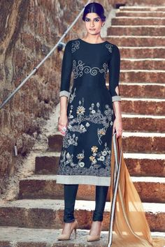 Grab the stylish, Churidar cotton asian prom suits, Dark Navy Blue  embroidered andaaz attire now in shop. Andaaz Fashion brings latest designer ethnic wear collection in UK    http://www.andaazfashion.co.uk/salwar-kameez/churidar-suits/dark-navy-blue-cotton-and-satin-churidar-suit-with-dupatta-dmv14163.html