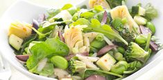 Spinach Arugula Orzo Salad -  Toss orzo pasta, chopped broccoli, artichoke hearts and kalamata olives with Simply Dressed Light Red Wine Italian Vinaigrette for a taste of Italy. #Mediterranean #RedWineSalad