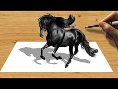 3D Pencil Drawing. Black Friesian Horse   Jasmina Susak - YouTube