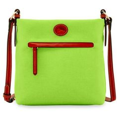 Dooney  Bourke Apple Green Nylon Daisy Letter Carrier ($138) ❤ liked on Polyvore featuring bags, handbags, shoulder bags, apple green, zipper tote, nylon tote bags, crossbody handbags, dooney bourke tote and nylon zippered tote bag