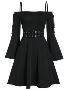 Gothic fashion 783274560180238305 - Lace Up Open Shoulder Spaghetti Strap Gothic Dress Source by mariefehler Edgy Outfits, Teen Fashion Outfits, Mode Outfits, Cute Casual Outfits, Casual Dresses For Women, Pretty Outfits, Pretty Dresses, Trendy Fashion, Beautiful Dresses