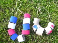 Red, white, and blue paper tube necklace...