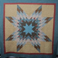 Quilt Star Burst of Teal by HollysHutch on Etsy, $350.00