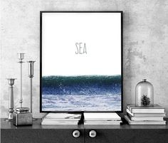 Sea Print Text can be customized. Size 8 x 10 inches Glossy Card Finish Frame not included Filmmaking, My Arts, Printable, Ocean, Wall Art, Artwork, Poster, Etsy, Design