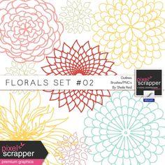 Florals Set #02 Outlines Brushes/PNG's Kit