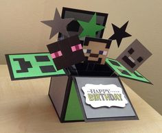 Handmade Card in a box minecraft theme by induscraftcreations