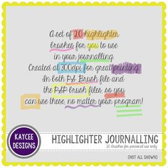 Freebie-a-Week - KayCee Layouts & Designs Highlighter Brush, Better Together, Layout Design, Layouts, About Me Blog, Learning, Studying, Teaching, Page Layout