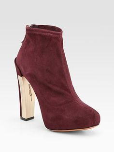 B Brian Atwood Edeline Stretch Suede Ankle Boots...sharp! ;)