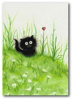 Fuzzy Black Kitty Cat Heart Flower ArT - 5x7 Print by AmyLyn Bihrle. $15.00, via Etsy.