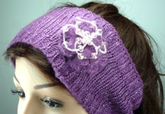 Purple Wool with Silver Thread Knitted Headband
