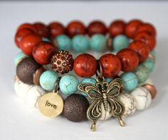 Boho Chic Butterfly and Love Charm Stretch Beaded Bracelets, Turquoise and…