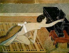 Page : Japanese Girl with a Black Mirror / Artist : Balthus / Date : 1967 / Balthus는 소녀 그림을 주로 그린 화가이다. 그의 작품 속 소녀들은 롤리타 이미지를 보여준다. 반쯤 벗겨진 기모노와 검은 거울을 향해 손을 뻗고 있는 소녀의 모습 또한 롤리타적 이미지를 불러일으킨다.    이 작품 속 거울은 검은 것이 큰 특징인데 이는 소녀의 옷에서도 볼 수 있듯이 동양풍의 분위기를 전달하기 위해 선택한 한 가지 소재로 보인다.    이 작품에서 거울은 전체적인 분위기 조성을 위해 선택된 조형적 요소이다.