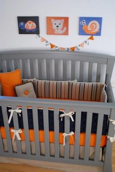 Navy Tan Stripe With Orange Crib Sheet Baby Bedding