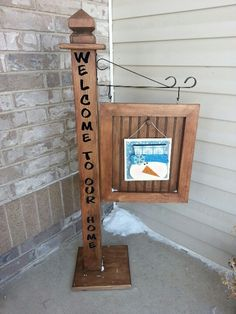 Porch Post with interchangeable signs.