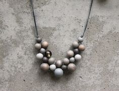 Wooden bead necklace, grey bib necklace, grey, grey wooden bead necklace, bib…