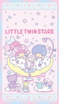 Little Twin Stars Stars Wallpaper, Sanrio Wallpaper, Kawaii Wallpaper, Iphone Wallpaper, Little Twin Stars, Little Star, Sanrio Characters, Cute Characters, Kawaii Art