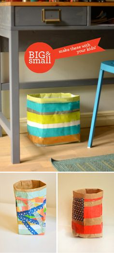 Snow Day Activities. Make these Sturdy Household Containers with Duct Tape & Washi Tape. A perfect indoor activity for kids or teens when you're stuck inside due to cold weather.
