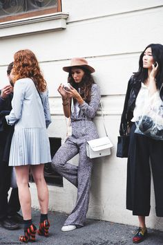 Blue dress and Grey Pants | Street Style