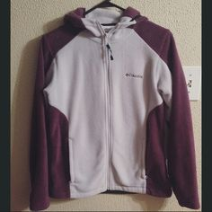 Columbia zip up fleece jacket Columbia fleece zip up jacket. Light and dark purple and super soft and cozy. In excellent condition other than the tag that was ripped partially out (seen in last photo). Size medium. Columbia Tops Sweatshirts & Hoodies