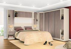 decoração de quarto pequeno de casalcom guarda roupa na parede - Pesquisa Google
