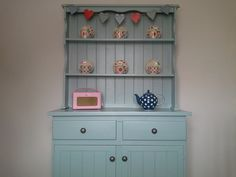 "Pine dresser painted in Farrow and Ball ""Dix blue"""