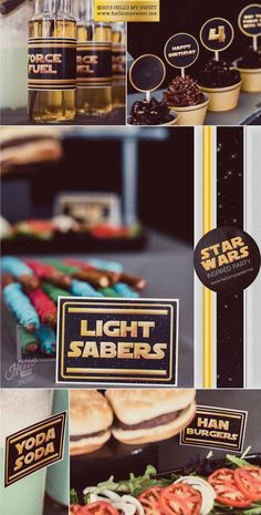 Star Wars birthday party ideas and dessert table from @Christina Childress Childress  Kahler My Sweet | http://www.hellomysweet.me  Love the light sabers