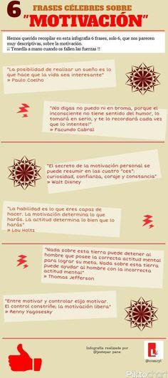 #Infografía #Emprendimiento 6 Frases celebres sobre #motivación.