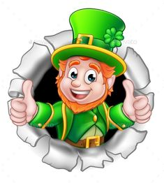 Buy St Patricks Day Leprechaun Breaking Background by Krisdog on GraphicRiver. A cute St Patricks Day Leprechaun cartoon character breaking through the background and giving a thumbs up St Patricks Day Pictures, St Patricks Day Crafts For Kids, St Patrick's Day Crafts, Leprechaun Clipart, Cartoon Clip, Cartoon Pics, Cartoon Characters, Saint Patricks Day Art, Happy St Patricks Day