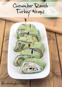Ranch Turkey Wraps Cucumber Ranch Turkey Wraps make a great lunch or are perfect for a party appetizer tray.Cucumber Ranch Turkey Wraps make a great lunch or are perfect for a party appetizer tray. Turkey Wrap Recipes, Turkey Wraps, Chicken Recipes, Best Lunch Recipes, Favorite Recipes, Healthy Recipes, Kid Recipes, Party Recipes, Healthy Foods