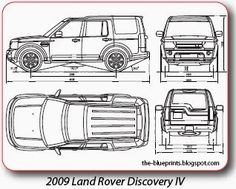 Vector blueprints cars trucks busses and others land rover lr discovery iv drawing malvernweather Images