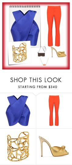orange pants and royal blue top and Louis Vuitton Favorite MM by bettie-boop on Polyvore featuring Carven, Diane Von Furstenberg, Giuseppe Zanotti, Kendra Scott, Louis Vuitton and Post-It