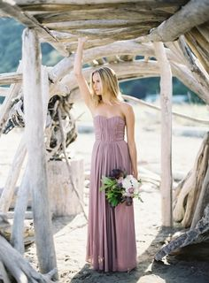 peaceful-seaside-wedding-inspiration-lavender-bridesmaid-dress-bouquet