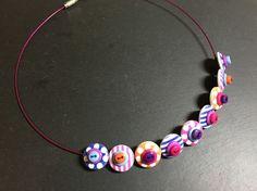 Button Necklace Spots and Stripes Wooden Button Choker Blue Purple Pink Orange £9.50