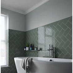 Wickes Cosmopolitan Sage Ceramic Wall Tile 200 x Metro Tiles Bathroom, Loft Bathroom, Upstairs Bathrooms, Modern Bathroom, Family Bathroom, Plum Bathroom, Bathroom Ideas Uk, Best Bathroom Tiles, Basement Bathroom