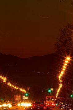 Faint Cresent Moon over University Avenue - Berkeley