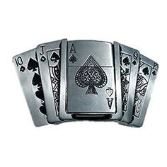 Funny 3D Belt Buckle Men Poker Cards Lighter Belts Head Removable Belt Buckles