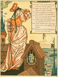 «And Anne looked once, and Anne looked twice, and nothing saw abroad, but shining sun and growing grass, and dust upon the road.», by Walter Crane (1845-1915, artist) and Edmund Evans (1826-1905, Wood-engraver). -- Illustration from «Blue Beard», see more at: http://digitalgallery.nypl.org/nypldigital/dgkeysearchresult.cfm?parent_id=1866517