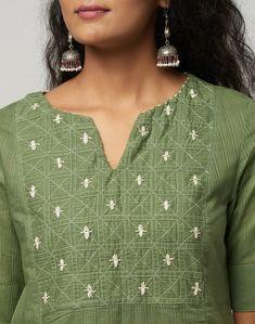 New Designer Dresses, Kurta Designs Women, Kurti Designs Party Wear, Green Cotton, New Dress, Slim, Kurtis, Blouse, Fitness
