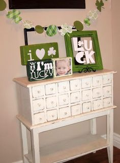 Irish Mantle ideas - could work for Valentines with LOVE and a heart.