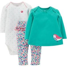 Child Of Mine by Carter's Newborn Baby Girl Bodysuit, T-shirt, and Pants Outfit Set - Walmart.com