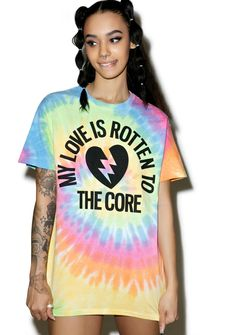 "Burger And Friends Rotten 2 The Core Tee cuz ya once cared too damn much. Now ya DGAF with this trippy short sleeve tee covered in a super vibrant tie dye. Featuring a perfectly relaxed fit and broken heart graphic that reads, ""my love is rotten to the core"" after all fuk luv."
