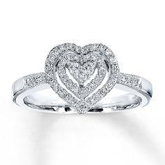 Diamond Heart Ring 1/4 ct tw Round-Cut 10K White Gold