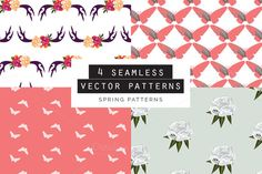 Spring Seamless Patterns Set of 4 by Youandigraphics on creativemarket Vector Pattern, Pattern Art, Pattern Design, Graphic Patterns, Graphic Design, Shops, Photoshop, Flyer, Pattern Illustration