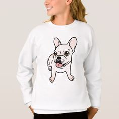 Cute cream Frenchie is ready to play Sweatshirt - drawing sketch design graphic draw personalize
